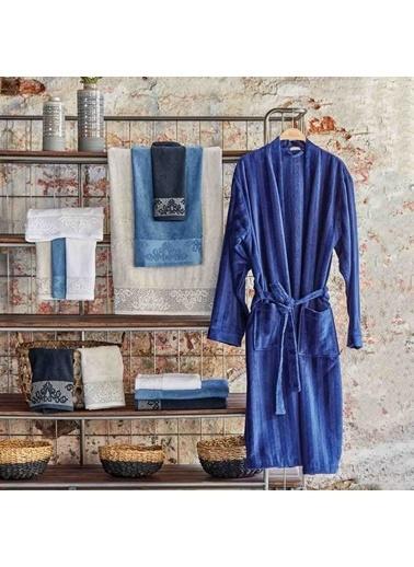 Bella Maison %100 Pamuk Lacivert Velvet Erkek Bornoz Lacivert